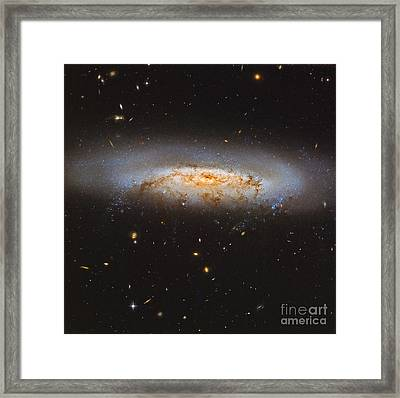 The Virgo Cluster Galaxy Ngc 4522 Framed Print by Roberto Colombari