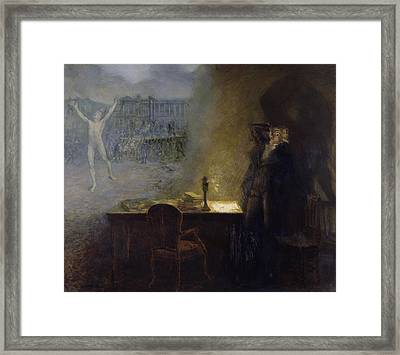 The Vision Of Robespierre Oil On Canvas Framed Print by Jean Joseph Weerts