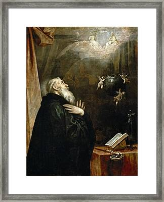 The Vision Of St. Benedict Of The World And The Three Angels Framed Print by Alonso Cano