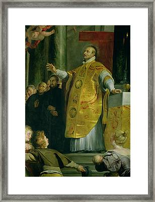 The Vision Of St. Ignatius Of Loyola C.1491-1556 Detail Of The Saint, 1617-18 Oil On Canvas Framed Print by Peter Paul Rubens