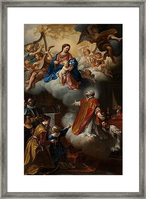 The Vision Of St. Philip Neri, 1721 Framed Print by Marco Benefial