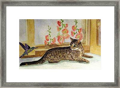 Framed Print featuring the painting The Visitor by Angela Davies