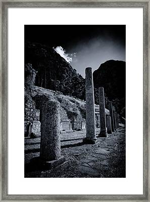Framed Print featuring the photograph The Votive Monument Of Spartans At Acient Delphi by Micah Goff