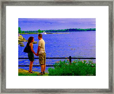 The Vow Lovers Forever By The Lake Summer Romance St Lawrence Shoreline Scenes Carole Spandau Art Framed Print by Carole Spandau