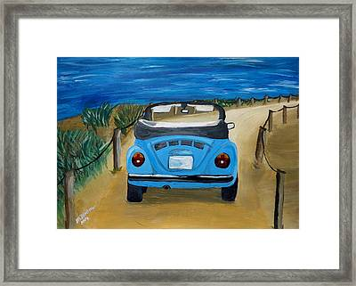 The Vw Bug Series - The Blue Volkswagen Bug At The Beach Framed Print by M Bleichner