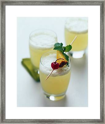 The Wahine Cocktail Framed Print by Romulo Yanes