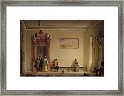 The Waiting Room, 1857 Oil On Canvas Framed Print by Hermann Dyck