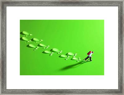 The Walker And Footprints Little People Big World Framed Print by Paul Ge