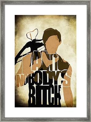 The Walking Dead Inspired Daryl Dixon Typographic Artwork Framed Print by Ayse Deniz