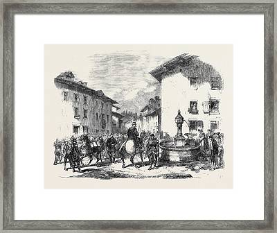 The War Arrival Of The Second Division Of The 4th Corps Framed Print by English School