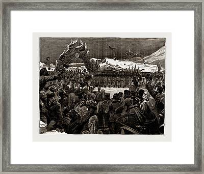 The War Between Serbia And Bulgaria The Entry Of Prince Framed Print by Litz Collection