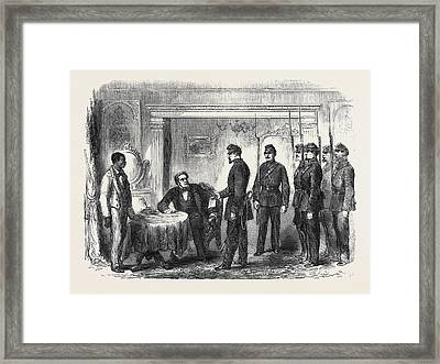 The War In America Arrest Of Mr Framed Print by French School