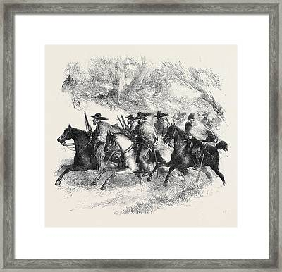The War In America Texan Rangers Federalists Reconnoitring Framed Print