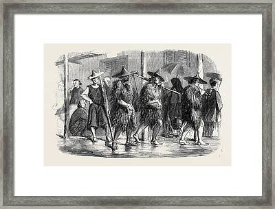 The War In China Coolies At Hong Kong In Wet Weather Framed Print by Chinese School