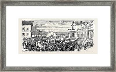 The War In The East, Arrival At Bucharest Of The Grand Duke Framed Print by English School