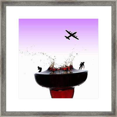 The War On A Cocktail Cup Little People On Food Framed Print by Paul Ge