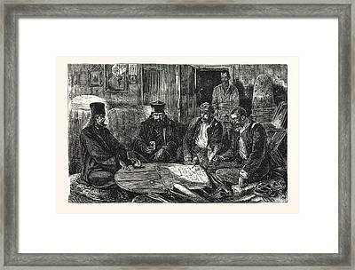 The War, Servian Staff Officers And Monks Holding A Council Framed Print by English School