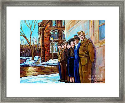 The War Years 1942 Montreal St Mathieu And De Maisonneuve Street Scene Canadian Art Carole Spandau Framed Print