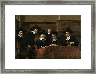 The Wardens Of The Amsterdam Drapers' Guild, Known As 'the Syndics', 1662 Oil On Canvas Framed Print by Rembrandt Harmensz. van Rijn