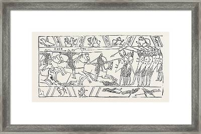 The Warriors Of Hastings From The Bayeux Tapestry Framed Print