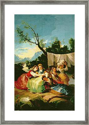 The Washerwomen, Before 1780 Oil On Canvas Framed Print by Francisco Jose de Goya y Lucientes
