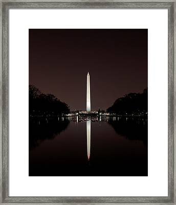 The Washington Monument - Reflections At Night Framed Print