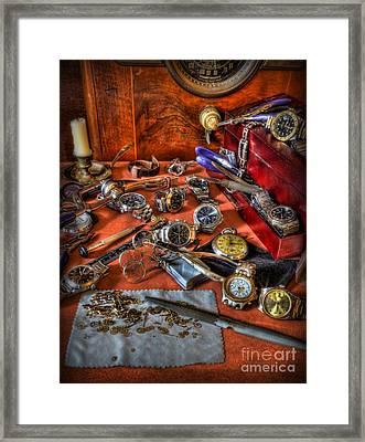 The Watchmaker's Desk Framed Print
