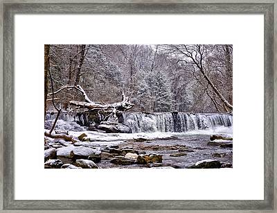 The Waterfall Near Valley Green In The Snow Framed Print by Bill Cannon