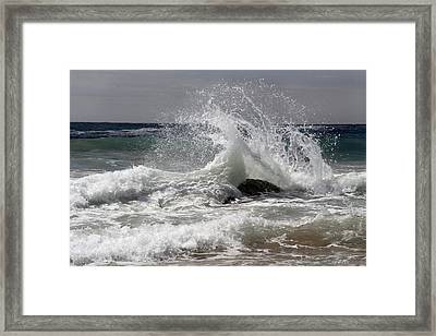 The Wave And The Rock Framed Print