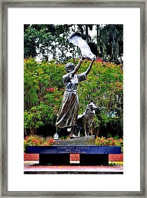 The Waving Girl Of Savannah Framed Print