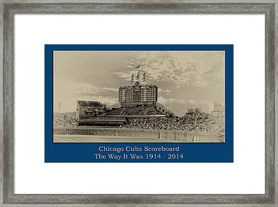 The Way It Was Chicago Cubs Scoreboard Heirloom Framed Print by Thomas Woolworth