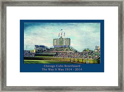The Way It Was Chicago Cubs Scoreboard Textured Framed Print by Thomas Woolworth
