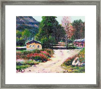 Framed Print featuring the painting The Path To The River by Laila Awad Jamaleldin