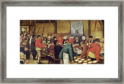 The Wedding Supper Framed Print by Pieter the Younger Brueghel