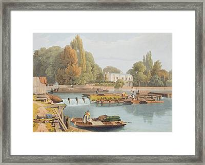 The Weir, From Marlow Bridge, Engraved Framed Print by William Havell