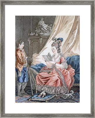 The Welcome News, Engraved By L. Marin Framed Print by Jean-Baptiste Le Prince