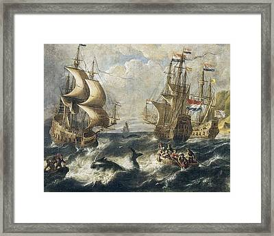 The Whale Fishing. Oil On Canvas Framed Print by Everett
