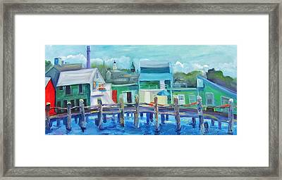 The Wharf In August Framed Print by Maria Milazzo