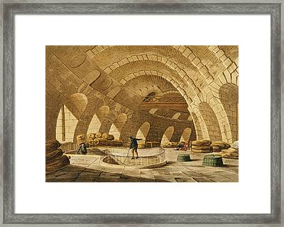 The Wheat Store, Rue De Viarmes, Engraved By I. Hill Coloured Engraving Framed Print by John Claude Nattes