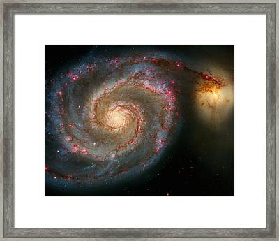 The Whirlpool Galaxy M51 And Companion Framed Print by Don Hammond