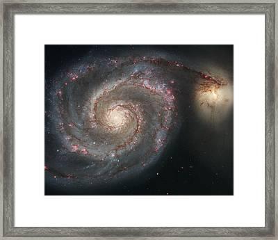 The Whirlpool Galaxy M51 And Companion Galaxy  Framed Print by Roman