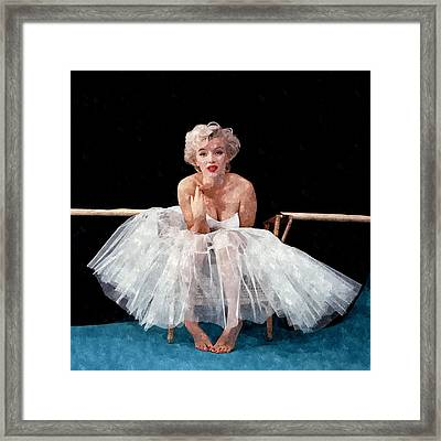 The White Dress Of Marilyn Framed Print by Florian Rodarte
