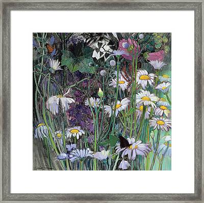 The White Garden Framed Print by Claire Spencer