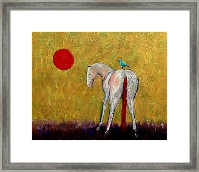 The White Horse And The Blue Bird Of Happiness Framed Print