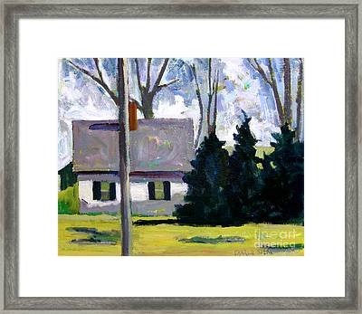 The White House  And The Dark Green Pines Framed Print