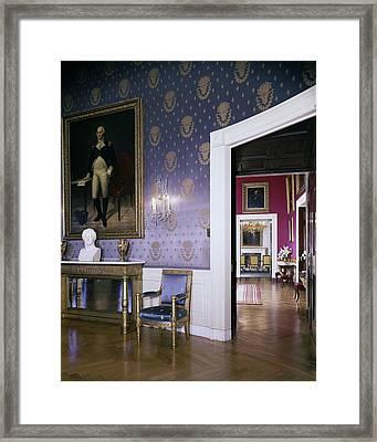 The White House Blue Room Framed Print by Tom Leonard