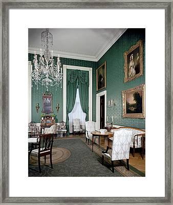 The White House Green Room Framed Print by Tom Leonard