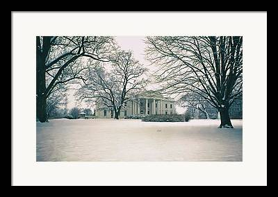 Historic Snowy Mansion Framed Prints