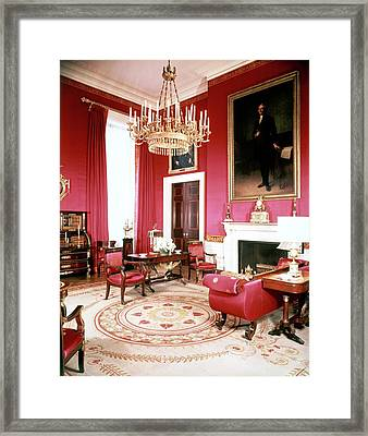 The White House Red Room Framed Print by Tom Leonard