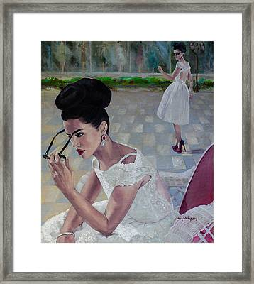 The White Lace Dress Framed Print by Dorina  Costras